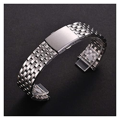 KHLKHBK Uhrenarmbänder kompatibel mit 18mm 20mm 22mm Edelstahl-Uhrenarmband für Samsung Gear S2 S3 Smart Watch Gliederarmband Schwarz für Samsung Gear S2 (Größe : 18mm) Nice Gift