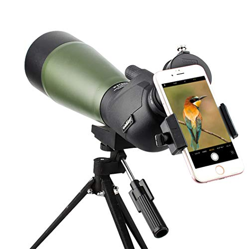 Gosky Spotting Scope with Tripod, Carrying Bag and Scope Phone Adapter - BAK4 45 Degree Angled Eyepiece Scope for Target Shooting Hunting Bird Watching (20-60x80 Scope + Phone Mount)