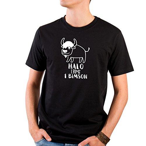 JUNIWORDS Herren T-Shirt mit rundem Ausschnitt -Halo i bims 1 Bimson - große Auswahl an Motiven - Größe: XL - Farbe: Schwarz