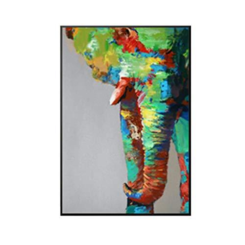 Olieverfschilderij, met de hand beschilderd, op doek, abstract, dierenschilderij, olifant in het hoofd, kleurrijk, modern, European Retro, vintage, kunsthandwerk, wanddecoratie voor woonkamer, keuken, volwassenen 90 x 135 cm