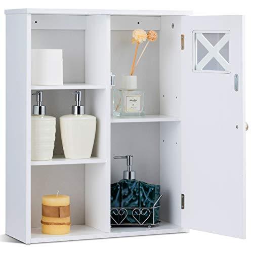 RELAX4LIFE Wandschrank aus Holz mit Luftloch, Hängeschrank mit 5 Regale & Tür, Badezimmerschrank mit verstellbarem Einlegeboden, Medizinschrank für Badezimmer & Büro & Eingang, 48 x 17,5 x 61 cm weiß