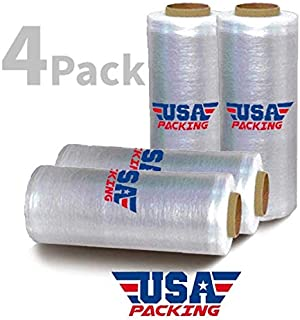 Pre Stretch Plastic Wrap Film | Furniture Packing Moving | Pallet Wrapping - 17 Inch x 1476 Feet - 3.35 Lbs per Roll. Made in USA with Virgin Material. Durable & Light Weight. Pre Stretch (4 Roll)
