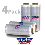 17 Inch x 1476 Feet - Pre Stretch Plastic Wrap Film | Furniture Packing Moving | Pallet Wrapping - 3.35 Lbs per Roll. Made in USA with Virgin Material. Durable & Light Weight. Pre Stretch (4 Roll)