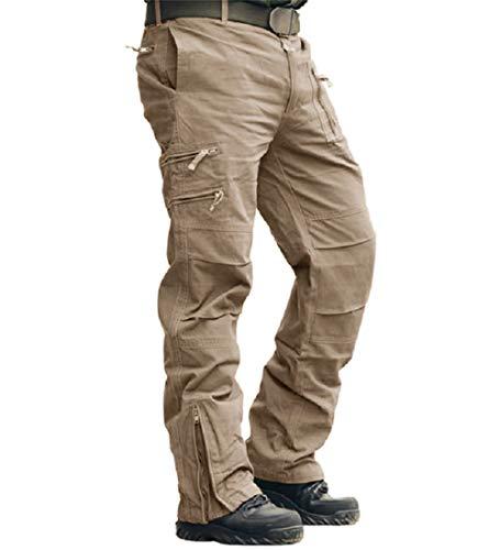 CRYSULLY Men Athletic Fit Cotton Army Pants Combat Baggy Work Pants Safari Pants Ripstop Pants Cargo Khaki Brown