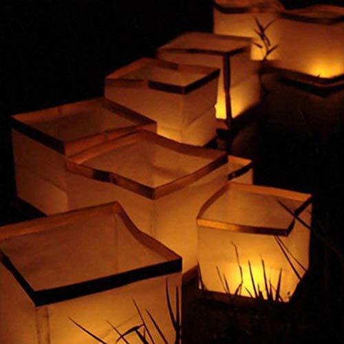 Uonlytech - Juego de 10 faroles cuadrados chinos flotantes para piscina, río o piscina, con vela