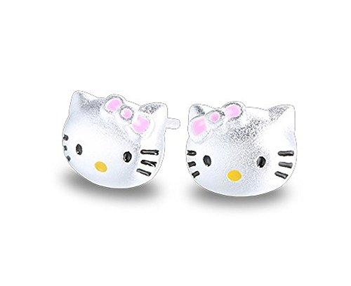Pendientes de plata de ley Findout con diseño de gatos, para mujeres y niñas(f1759)