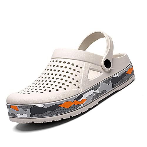 NISHIWOD Chausson Pantoufle Sandale Sabots Hommes Sandales Chaussures Décontractées Eva Léger Sandles Unisexe Chaussures Colorées pour Plage 41 Blanc