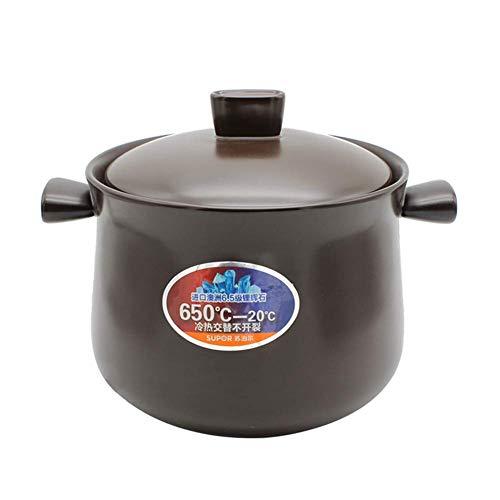 Pot en terre cuite rond, cocotte en céramique Pot en argile Pot à soupe avec couvercle Ustensiles de cuisine sains résistants à la chaleur pour une cuisson lente Ustensiles de cuisine noirs 6.3Quart