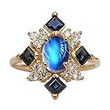 Yosemite - Anillo de diamantes de imitación cuadrados, piedra lunar falsa, anillo de compromiso, regalo para mujeres, cobre, Oro amarillo., US 9