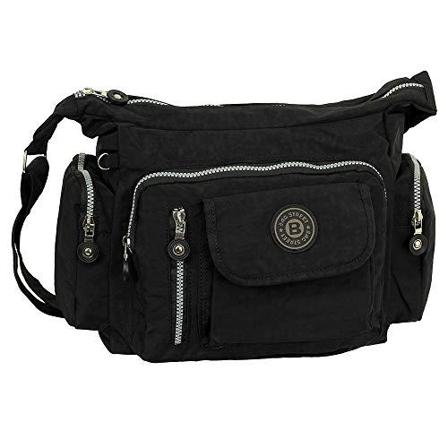 Ledershop24 Geschenkset - Leichte Damen & Herren Umhängetasche Schultertasche Sporttasche Stofftasche Farbe schwarz