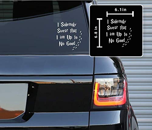 Printbeat I Solemnly Swear That I Am Up to No Good Vinyl Decals Stickers for Cars, Van, Trucks, Laptop (White, 6.1 x 6.38)