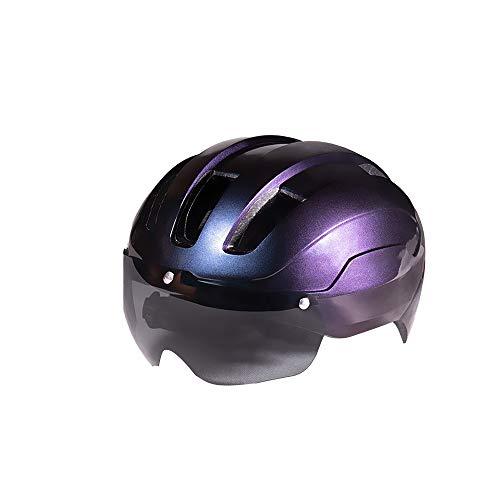 Casco de bicicleta de carretera con gafas de seguridad, ligero y ajustable,...