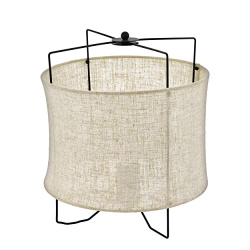 EGLO Tischlampe Bridekirk, 1 flammige Tischleuchte Vintage, Natur, Boho, Hygge, Nachttischlampe aus Stahl in schwarz und Textil in Naturfarben, Wohnzimmerlampe, Lampe mit Schalter, E27 Fassung