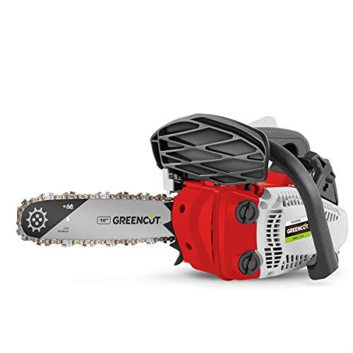 Greencut GS250X Motosierra Poda de Gasolina 25,4cc y 1,4cv con Espada de 10'' Arranque Easy-Start, Sistema Anti-Vibración, Incluye Protector de Espada y Kit, Rojo