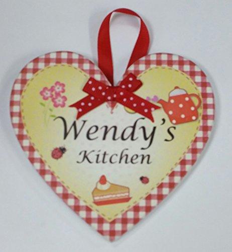 Wendy nommé personnalisé en forme de cœur Kitchen Plaque magnétique par Sterling effectz