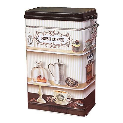 Linsition Retro Kaffeedose Rechteckig Weißblech Teedose Vintage-Stil Kaffeebohnen Versiegelte Aufbewahrungsbox Mit Schloss Schnalle - Küche Vorratsdose Kanister Für Aufbewahrung Desktop