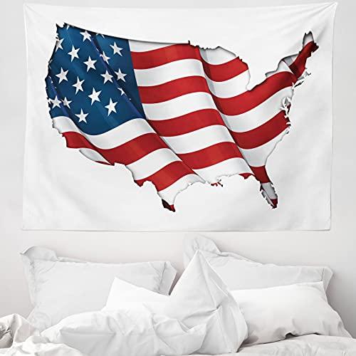 ABAKUHAUS Weltkarte Wandteppich & Tagesdecke, Vereinigte Staaten kennzeichnen, aus Weiches Mikrofaser Stoff Wand Dekoration Für Schlafzimmer, 150 x 110 cm, Weiß Rot Blau