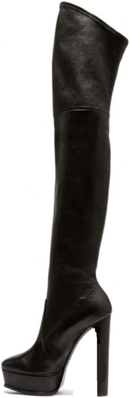 QZX Stiefel Damen Oberschenkel Hoch Stiefel Neu Sexy Blockabsatz Stretch Frauen Hohe Stiefel Overknees Herbst Winter Abend Gre 35-42