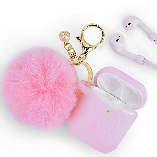 Airpods Case - Filoto Airpods Silicone Glitter Cute Case Cover with Pompom/Keychain/Strap for Apple Airpods 2&1, 2019 Newest 360° Protective Air Pods Charging Case Cover (Glitter Light Pink)
