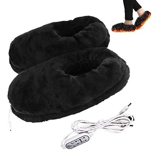 Diantai Calentadoras eléctricamente calentadas por USB, lavables cómodas, calentadoras de pies, para invierno, cálidas pantuflas para hombres y mujeres
