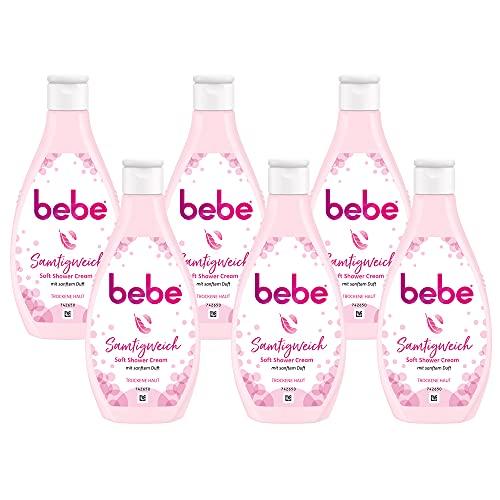 bebe Samtigweich Soft Shower Cream - 6 x 250 ml, Duschgel mit sanftem Duft, Trockene Haut