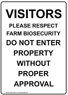 Lilyanaen New Metal Sign Aluminum Sign Visitors Please Respect Farm Biosecurity for Outdoor & Indoor 12