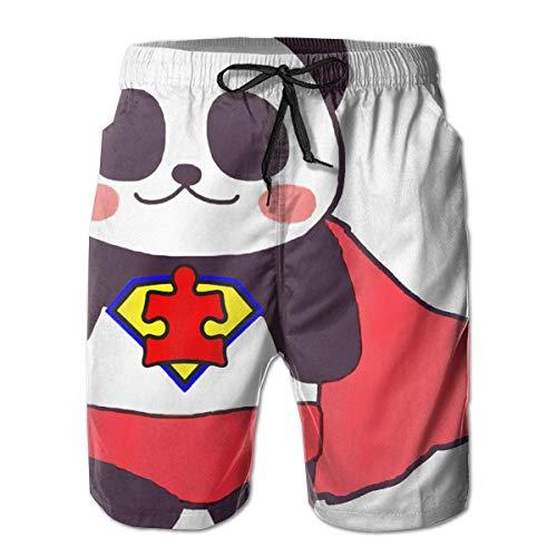 Harry wang Short de Plage d'été pour Hommes Super Panda, Pantalon à séchage Rapide avec Poches, Taille L