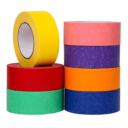 VEYLIN 7er-Pack farbiges Abdeckband 15 m/Rolle Regenbogen-Bastelpapier 2,5 cm für DIY Kunst Handwerk Klassenzimmer Dekorationen