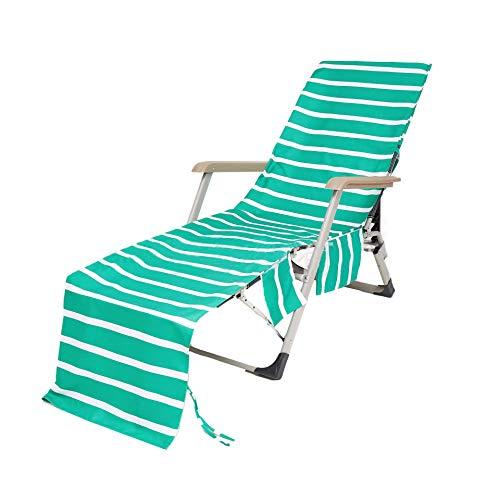 GuoCu Liegestuhl Auflage Schonbezug für Gartenliege Liegestuhl Auflage Strandtuch Faltbar für Sport Handtuch für Sonnenliege/Lounge Mate/Liegestuhl Bezug mit Seitentasche 14 one Size