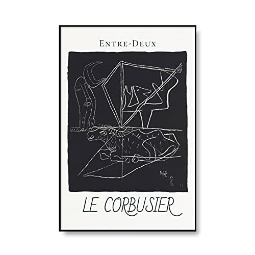 Impresiones abstractas de la vendimia Francia Le Corbusier cartel de la exposición cuadro del arte de la pared pintura de la lona sin marco del hogar moderno C 20x30cm