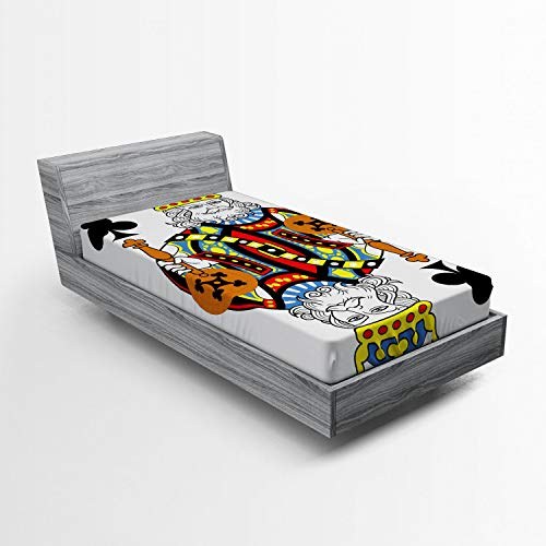 Ambesonne King Fitted Sheet, King of Clubs Playing Gambling Poker Card Game Leisure Theme Without Frame Artwork, Soft Decorative Fabric Bedding All-Round Elastic Pocket, Twin Size, Blue Orange