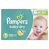 Diapers Newborn/Size 1 (8-14 lb), 120 Count - Pampers Baby Dry Disposable Baby Diapers, Super Pack