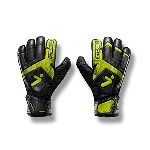 Storelli Guantes de Portero 2.0 Challenger Gladiator Guantes de Portero de fútbol con férulas para los Dedos | Protección Mejorada para Dedos y Manos | Negro | Tamaño 7