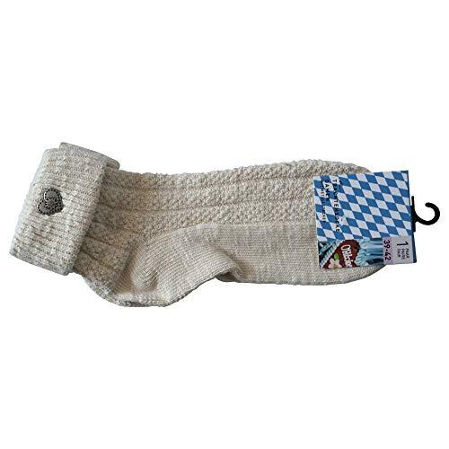 Sockswear 2 Paar Trachten Umschlag Socken im Landhaus-Stil Oktoberfest Zopfstrick Edelweiß (39-42)