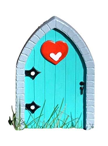 BZB Verzauberte Miniaturwelt Feentür – Garten Haus Innen Außen Ornament – 8 Designs – 12 cm (Aqua Heart)