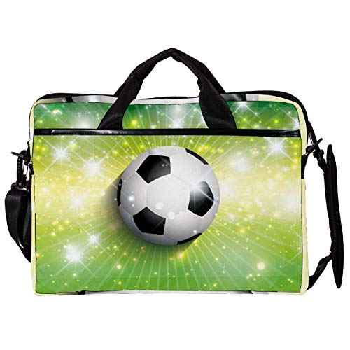 Unisex Computer Tablet Satchel Bag,Lightweight Laptop Bag,Canvas Travel Bag,13.4-14.5Inch with Buckles Football Soccer Shiny Green Background