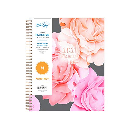 Blue Sky 2021 Monthly Planner, Frosted Flexible Cover, Twin-Wire Binding, 8' x 10', Joselyn (110395-21)