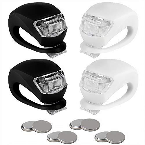 BLINK4 Mini Silicone Strap ON LED Bike Light - 8 Extra Batteries - 4 Lights - 2 Front & Rear Bike Light Set - Black & White