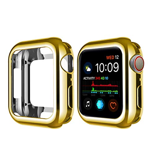 ZAALFC Funda protectora delgada de silicona para Apple Watch de 38 mm, 40 mm, 42 mm, 44 mm, serie 7/SE/6/5/4/3/2/1 (color: dorado, tamaño: 38 mm)