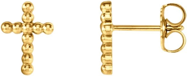 14kt Yellow Beaded Cross Earrings in 14k Yellow gold