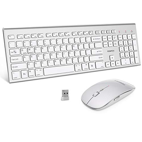 Wireless Keyboard and Mouse,FENIFOX Full-Size USB Dual System Switching Double Ergonomic Whisper-Quiet Compatible with PC Desktop Computer macOS Windows -Silver White