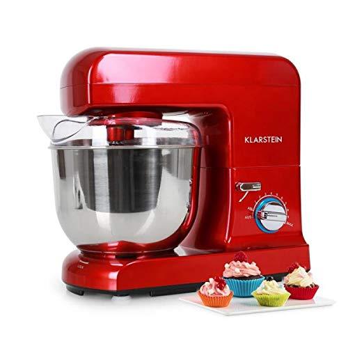 Klarstein Gracia Rossa - Robot amasador, Ayudante de cocina, Amasa, tritura, bate, remueve y mezcla, Batido planetario, 1,3 PS, 1000 W, 5 L, 10 etapas, Recipiente acero inoxidable, Rojo