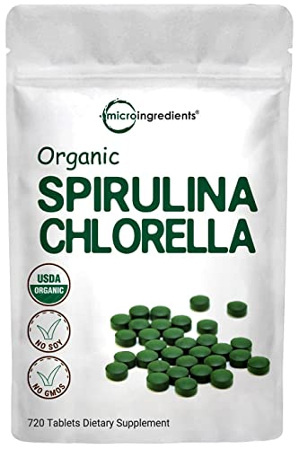 Organic Chlorella Spirulina Tablets, 3000mg Per Serving, 720 Counts, 120 Servings (4 Months Supply), Filler Free and Cracked Cell Wall, Rich in Vegan Protein, Chlorophyll & Vitamins, Non-GMO