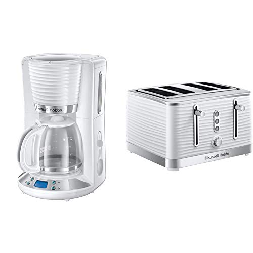 Russell Hobbs 24390 Inspire Filter Coffee Machine, 1.25 Litre Carafe (10 Large Cups), High Gloss White, 1100 W, 1.25 liters & 24380 White Inspire High Gloss Plastic Four Slice Toaster