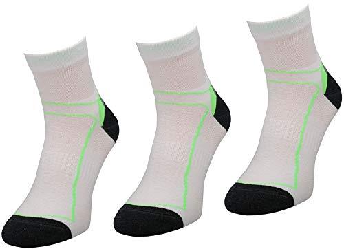 COMODO 3 Paires de Chaussettes de vélo | Femmes/Hommes | Chaussettes fonctionnelles | vélo | BIK1 | Blanc/Vert | Size: 43-46