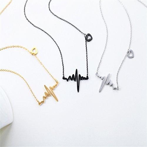 Collier Battement de coeur tour de cou pour femmes bijoux délicats en acier inoxydable 316L plaqué or ECG - 2