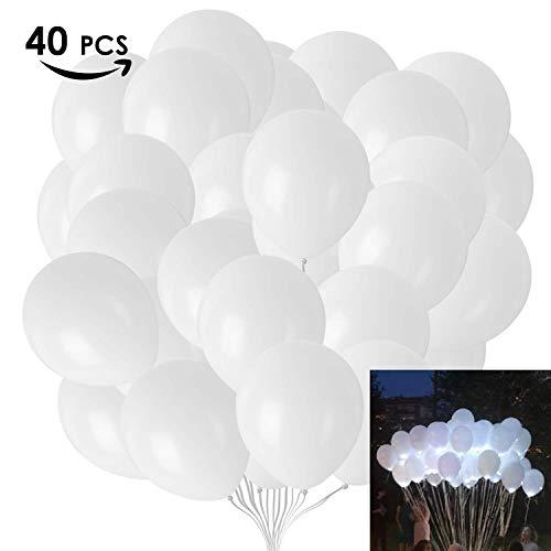 MVPower 40pcs LED Luftballons, Weiße Leuchtende Luftballons für Weihnachten, Hochzeit, Party, Geburtstag und Feiertag, 30 cm Leuchtet bis 24 Stdn, Dekoration mit Leuchtenden Ballons Einfache Bedienung