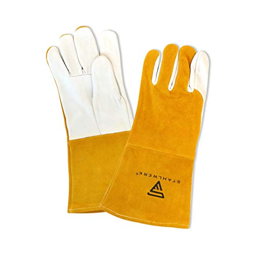 STAHLWERK Schweißerhandschuhe Schutzhandschuhe Arbeitshandschuhe robustes Echtleder hitze- und feuerbeständig, weiß gelb, geeignet für WIG TIG MIG MAG MMA Plasma