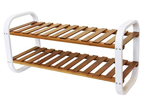 Zapatero de bambú y metal – 2 estantes – Natural/Blanco – 66 x 28 x 33 cm