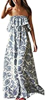 Yidarton Women Summer Blue and White Porcelain Strapless Boho Maxi Long Dress